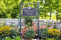 Joseph Smith Birthplace sign and garden at entrance