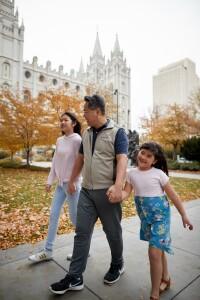 Family Walking Temple Square